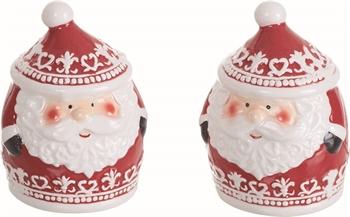 Hollyhocks Exclusives   Santa Salt & Pepper Set $7.95
