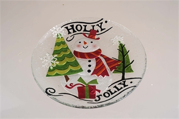 Hollyhocks Exclusives   Jolly Snowman Glass Platter $28.95
