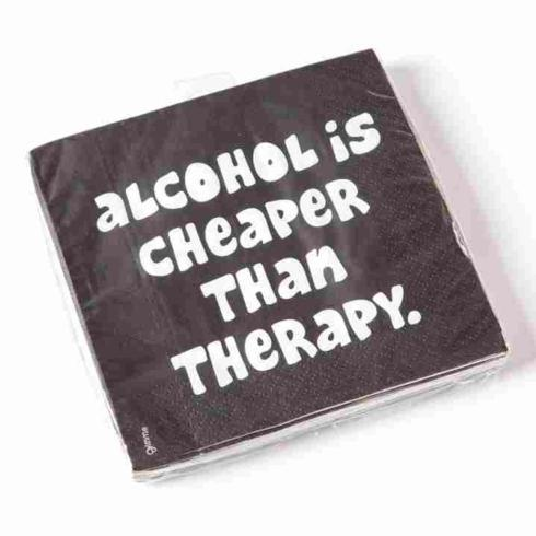 """Papyrus   Cocktail Napkins ~ """"Alcohol is Cheaper than Therapy"""" $3.99"""