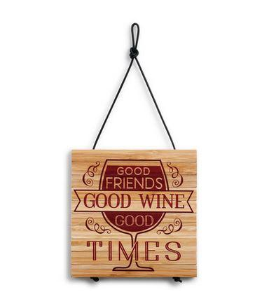 "$24.95 Expandable Wooden Trivet ~ ""Good Friends & Wine"""