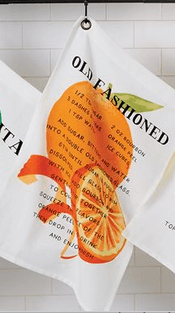 $8.95 Dish Towel ~ Old Fashioned Drink Recipe