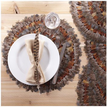 Two\'s Company   Pheasant Feathers Round Placemat $20.95