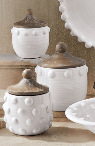 $41.95 Ceramic Raised Dot Large Canister ~ White