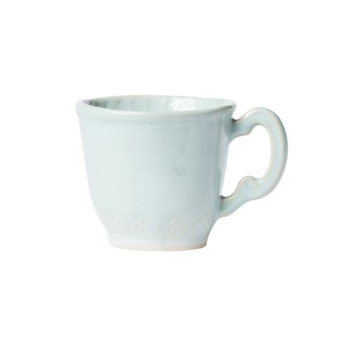 Hollyhocks Exclusives   VIETRI ~ Incanto Stone Lace Mug ~ Aqua $46.00