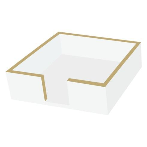 $15.95 Cocktail Napkin Holder ~ White with Gold Rim