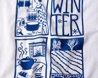 Hollyhocks Exclusives   Kei & Molly Flour Sack Dish Towel ~ Winter Indigo $13.95