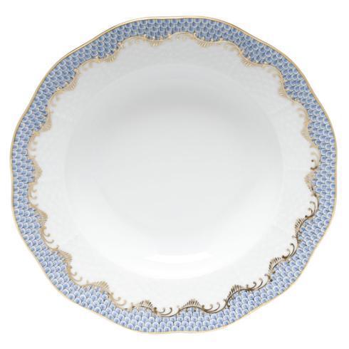 Herend Fish Scale Light Blue Rim Soup Plate - Light Blue $240.00