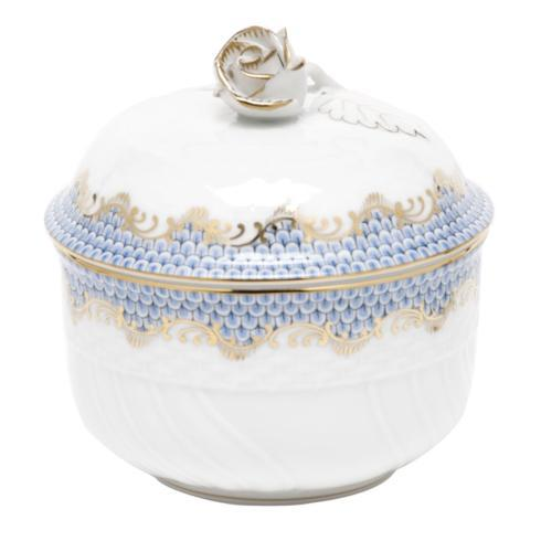 Herend Fish Scale Light Blue Covered Sugar with Rose - Light Blue $290.00