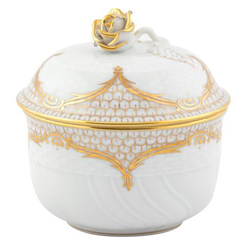 Herend Collections Golden Elegance Covered Sugar with Rose $320.00