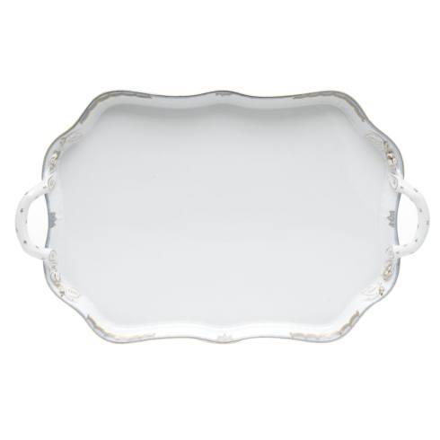 "Herend  Princess Victoria Light Blue REC TRAY W/BRANCH HANDLES 18"" L $435.00"