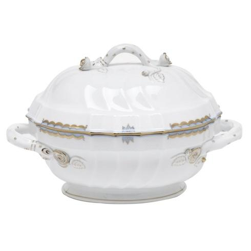 "Herend  Princess Victoria Light Blue TUREEN W/BRANCH (2 QT) 9.5"" H $1,195.00"