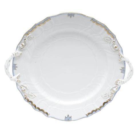Herend  Princess Victoria Light Blue CHOP PLATE W/HANDLES $360.00