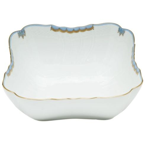"Herend  Princess Victoria Light Blue SQUARE SALAD BOWL 10""SQ $395.00"