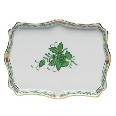 "Herend  Chinese Bouquet Green Small Tray 7.5"" L x 5.5"" W"