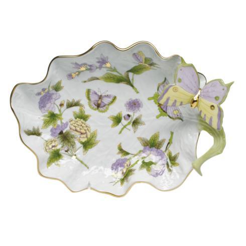 "$610.00 Large Leaf Dish w/Butterfly 10.75"" L"