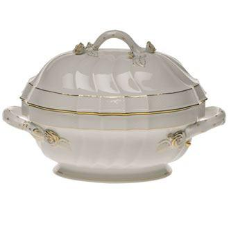 Herend  Golden Edge Tureen W/Branch $710.00
