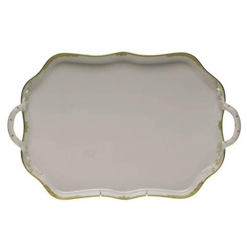 Herend Princess Victoria Green Rec Tray W/Branch Handles $435.00