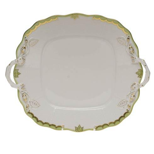 Herend Collections Princess Victoria Green Square Cake Plate W/Handles $310.00