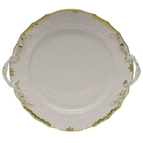 Herend Princess Victoria Green Chop Plate W/Handles $360.00