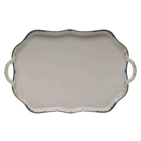 Herend  Princess Victoria Blue Rec Tray W/Branch Handles $435.00
