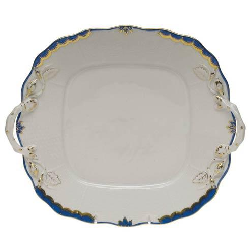 Herend  Princess Victoria Blue Square Cake Plate W/Handles $310.00