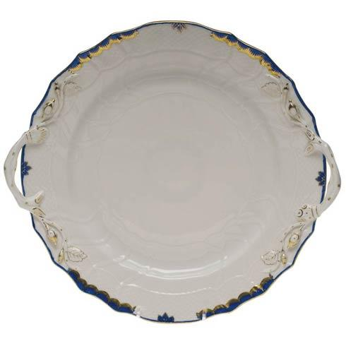 Herend  Princess Victoria Blue Chop Plate W/Handles $360.00