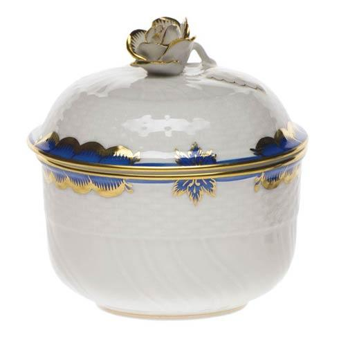 Herend  Princess Victoria Blue Cov Sugar W/Rose $135.00