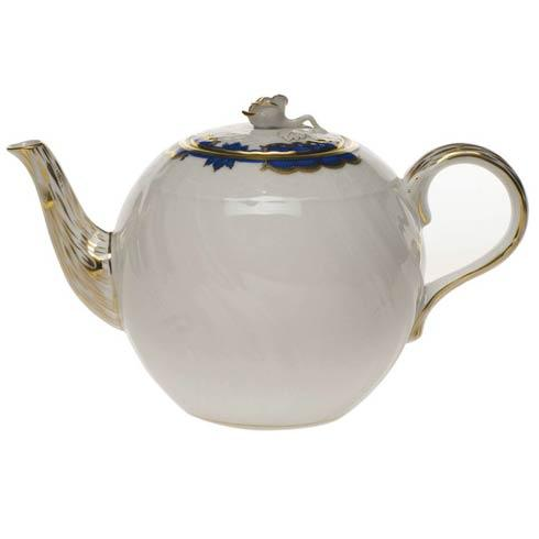 Herend  Princess Victoria Blue Tea Pot W/Rose $275.00