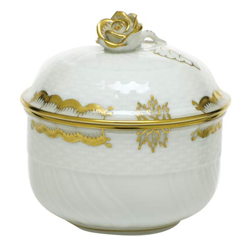 Herend  Princess Victoria Gray Covered Sugar with Rose - Multicolor $135.00