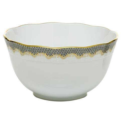 Herend Fish Scale Gray Round Bowl - Gray $340.00