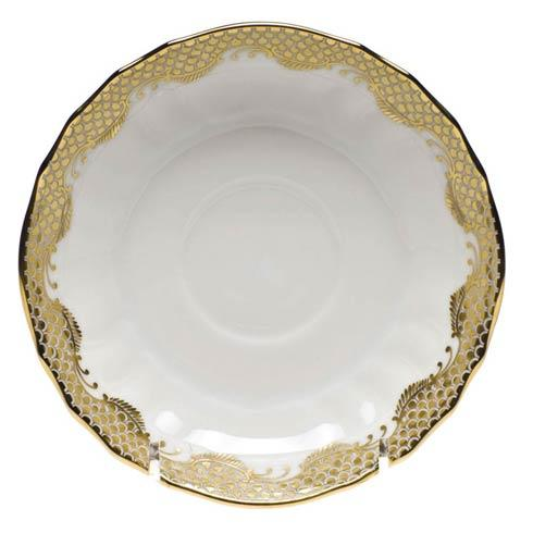 Herend Fish Scale Gold Canton Saucer - Gold $95.00