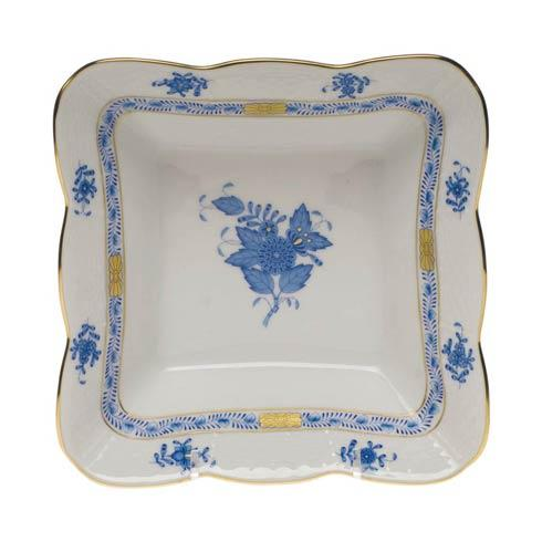 Herend Chinese Bouquet Blue Square Dish 6.75