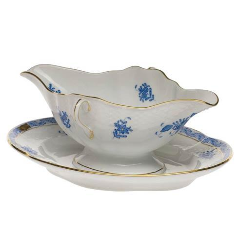 Herend  Chinese Bouquet Blue Gravy Boat W/Fixed Stand  0.75 $490.00