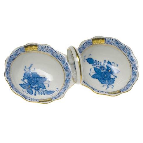 "Herend  Chinese Bouquet Blue Twin Salt  5.5"" L $100.00"