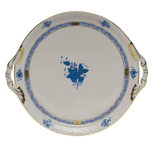 Herend Chinese Bouquet Blue Round Tray W/Handles  11.25