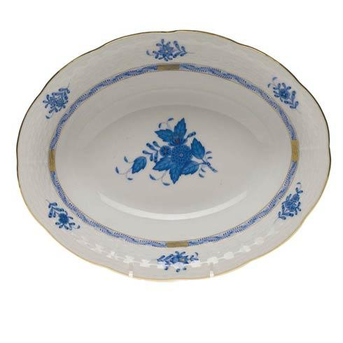 "Herend  Chinese Bouquet Blue Oval Veg Dish  10"" L X 8"" W $225.00"