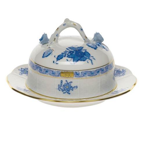 "Herend  Chinese Bouquet Blue Cov Butter Dish  6"" D 3.5"" H $275.00"