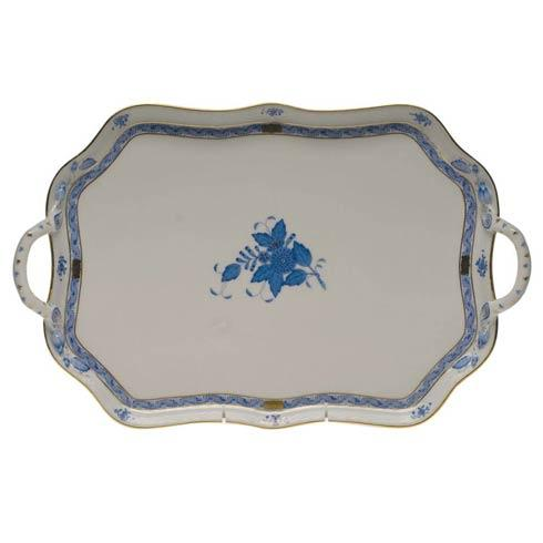 Herend Chinese Bouquet Blue Rec Tray W/Branch Handles  18