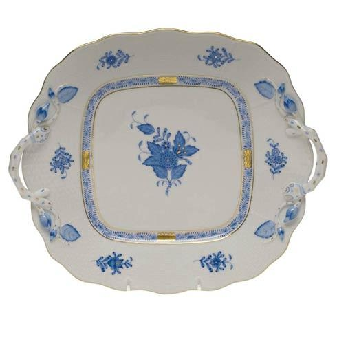 Herend  Chinese Bouquet Blue Square Cake Plate W/Handles  9 $415.00