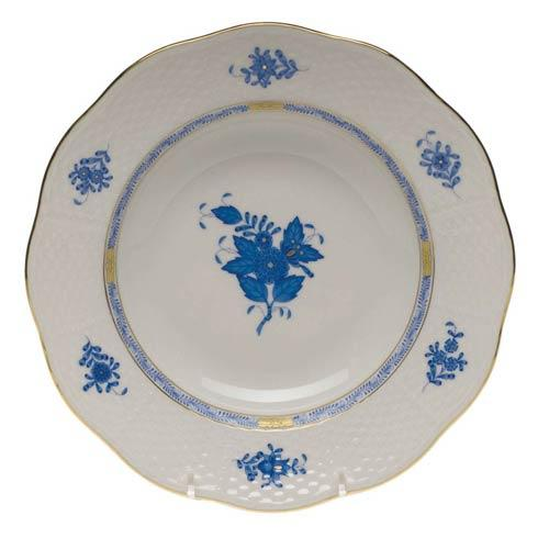 Herend Chinese Bouquet Blue Rim Soup Plate  8