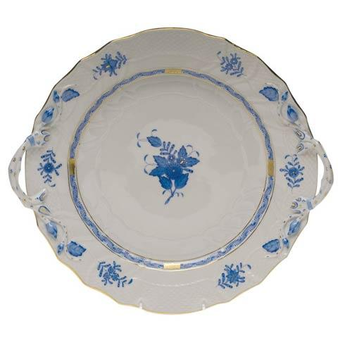Herend Chinese Bouquet Blue Chop Plate W/Handles  12