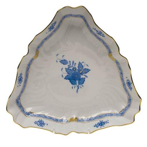 "Herend  Chinese Bouquet Blue Triangle Dish  9.5"" L $275.00"