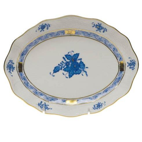 Herend Chinese Bouquet Blue Small Oval Dish 7.5