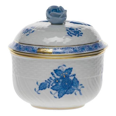 "Herend  Chinese Bouquet Blue Cov Sugar W/Rose  (6 Oz) 4"" H $175.00"
