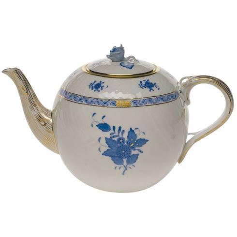 "Herend  Chinese Bouquet Blue Tea Pot W/Rose  (60 Oz) 6.5"" H $415.00"