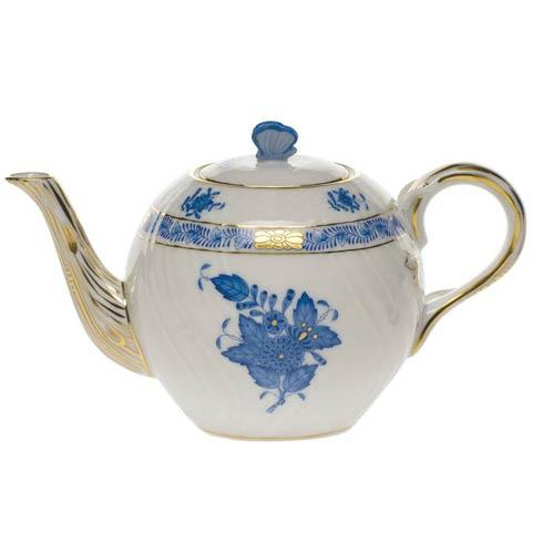 "Herend  Chinese Bouquet Blue Tea Pot W/Butterfly (12 Oz) 4"" $210.00"