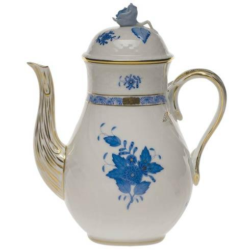 Herend Chinese Bouquet Blue Coffee Pot W/Rose  (36 Oz) 8.5 $415.00