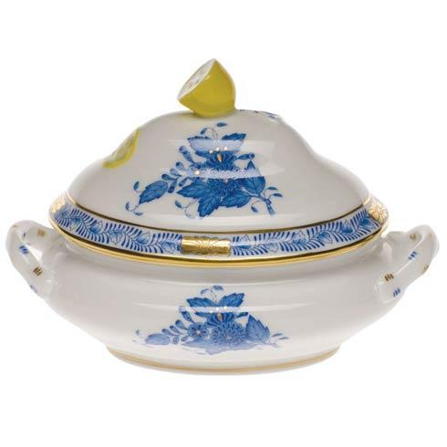 "Herend  Chinese Bouquet Blue Mini Tureen - Lemon 5"" L X 4"" H $190.00"
