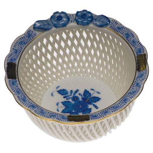 Herend Chinese Bouquet Blue Openwork Basket  4