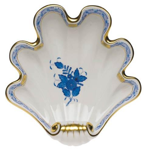 "Herend  Chinese Bouquet Blue Shell Dish  9"" L X 8.75"" W $250.00"